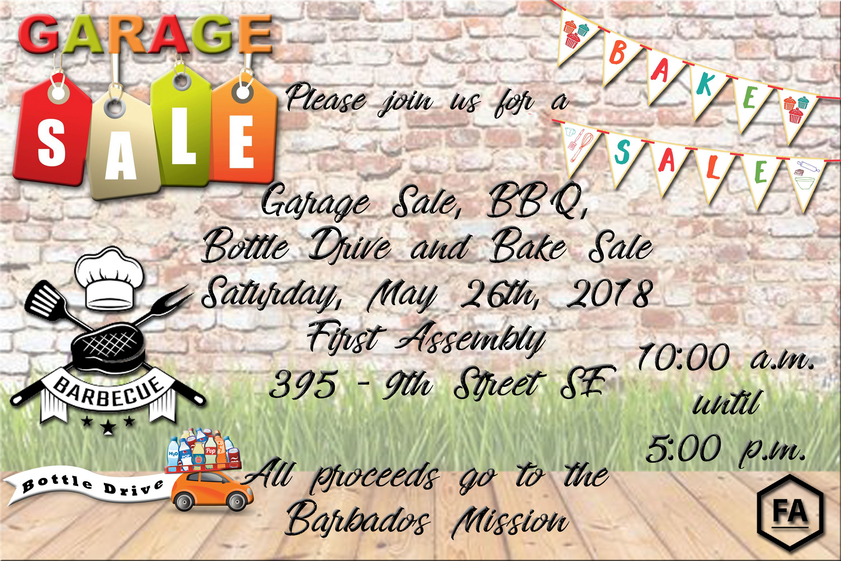 Garage Sale, Bake Sale, BBQ & Bottle Drive Fundraiser for Our